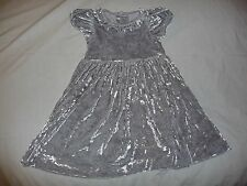 NWOT Kelly's Kellys Kids Silver Velour Holiday Christmas Party Dress 4 5