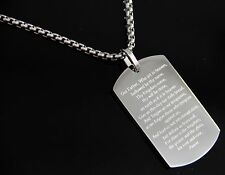 "24"" Men's Silver Stainless Steel Dog Tag BIBLE VERSES Pendant BOX Chain Necklace"