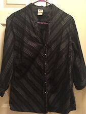 Black With Small Silver Stripe Stretch Blouse, 3/4sleeve, Size 2x