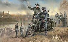 Zvezda, 3632, 1:35, BMW Motorad R12 mit Crew WWII , 4 Figuren, Plastikmodellbau