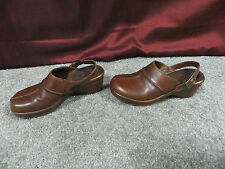Dr. Scholl's Brown Distressed Leather Clogs/Mules w/Gel Pac Insoles, sz 7