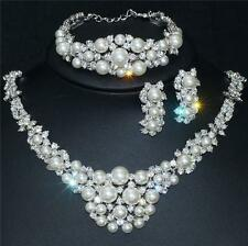 18k White Gold Plated Bridal Wedding Necklace Earring Bracelet Pearl Crystal Set