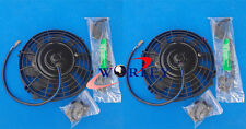 "2 pcs 7"" 12V Slim Radiator Cooling Thermo Fan + Mounting kit 7 inch universal"