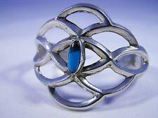 """Navajo BISBEE Turquoise Tufa Cast BRACELET Sterling Silver """"Open Basket Weave"""""""
