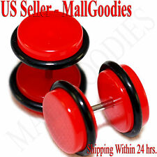 2052 Red Color Fake Cheater Illusion Faux Ear Plugs 16G Bar 00G = 10mm - 2pcs