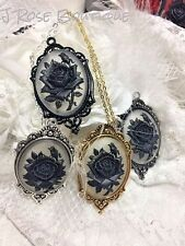 HALLOWEEN MOURNING ROSE VICTORIAN LACE CLEAR GOTHIC Black Cameo Necklace  silver