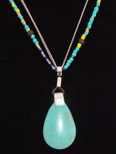 Kenneth Cole New York Silvertone Beaded Semi-Precious Turquoise Pendant Necklace
