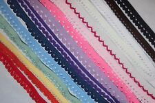 Lot 45 yds Red Pink White Picot DOLL edge Lingerie Stretch Elastic 3/8 1/2 wide