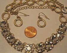 Necklace Earring Set Rhinestones Round Gold Tennis Circles Long Chain NWT L779