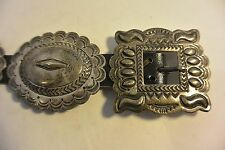 signed ROBERT JOHSON Navajo 11 pcs. stamped CONCHO BELT buckle Sterling Silver
