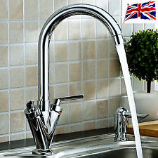 UK NEW TWIN LEVER SWIVEL SPOUT MODERN CHROME KITCHEN SINK BASIN MIXER TAP MODERN