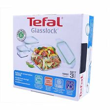 Tefal Glasslock Food Storage Containers Square Glass Dish Set of 3 Glass Storage