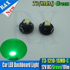 2pcs T3/T4/T5 Neo Wedge Dash SMD LED Bulbs Green T3 1210 1SMD Car Interior Light