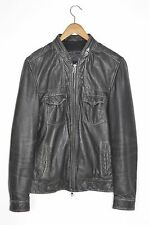 **AWESOME SAUCE** AllSaints Spitalfields Mens ALBANY Leather Bomber Jacket SMALL
