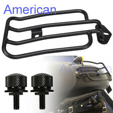 Black Luggage Rack Solo Seat W/ Two Blots For HD Sportster XL883 1200 2004-2015