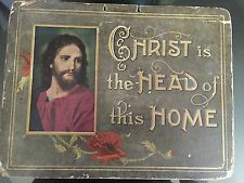 "Vintage Antique 1920's ""Christ Is The Head Of This Home"" Gilted Lithograph Sign"
