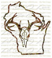 Camouflage Camo Wisconsin Buck Skull Deer Hunting Vinyl Decal Hunt Sticker
