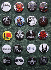 20 HEAVY METAL BUTTON BADGES SET 2 MOTORHEAD ACDC  PATCH METAL HORNS  HARD ROCK