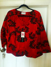 BNWT M&S AUTOGRAPH PLUS RED MIX LINED EDGE TO EDGE SHORT EVENING JACKET SIZE 22