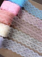 VINTAGE white pink red peach blue LACE RIBBON TRIM 45mm WIDE BRIDAL CRAFTS