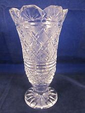 """WATERFORD CRYSTAL GOTHIC MARK Vase 7"""" Scalloped Cut Top Edge ~ EXCELLENT"""