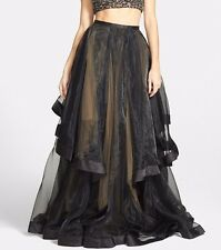 NEW Glamour Terani Couture Organza Ballgown SKIRT ONLY Black/Nude [SZ: 0] #M186