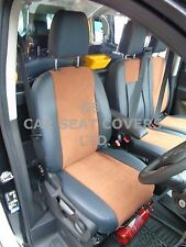 TO FIT A FORD TRANSIT CUSTOM LPG VAN, SEAT COVERS, LEATHERETTE / TAN SUEDE