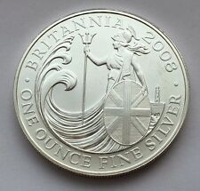 2008 GREAT BRITAIN BRITANNIA 2 POUNDS 1 OZ FINE SILVER COIN MINT UNCIRCULATED