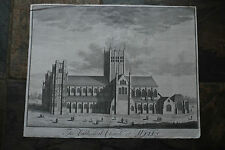 """Genuine 18th Century Print """"The Cathedral Church Wells - Copper Engraving"""