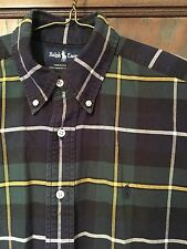 Ralph Lauren Blue Green Plaid Casual Dress Shirt M Button Down Cotton