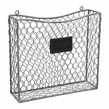 Country Rustic Gray Metal Wire Wall Mounted Magazine, File & Mail Holder Basket