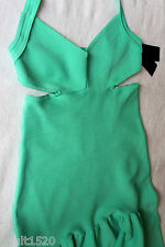 NWT GUESS Designer Sultry Sea Green Pop Mirage Cut Out Halter Dress M $138