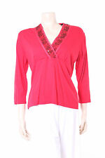 New Ladies Red Jumper Size 12 Viz-A-Viz Bead Sequin & Embroidery Detail Top