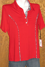 JUN Golf & Everyday Wear Red Black & White Short Sleeve TOP Size Medium NWT USA!