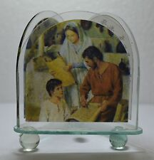 Holy Family Stain Glass Tri-Votive T-Light Candle Holder With Prayer, 75mm High