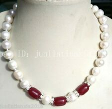 New 10x14mm Red Ruby Natural 10-11mm White Pearl Necklace 18''