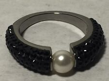 Authentic Swarovski Crystal Piano Ring Size 52 / 5.5 Faux Pearl Silver Tone