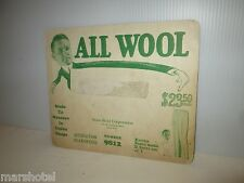 VINTAGE GARMENT INDUSTRY TRADE CARD ALL WOOL STONE-FIELD CORP CHICAGO #9812