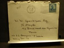 1928 RMS BERENGARIA Naval Cover PASSENGER Mail PRINCETON, NJ to PARIS, FRANCE