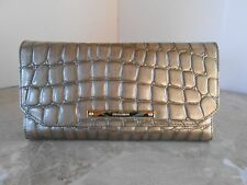 New BRAHMIN Soft Checkbook Wallet TAUPE Embossed Leather NWT $195 TAUPE