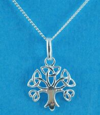 "Ladies Sterling Silver 18"" Curb Chain Necklace with Celtic Tree of Life Pendant"