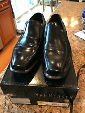 VanHeusen Barry Black Leather/Man made  Mens Loafer Dress Shoes 7.5 Med EUC