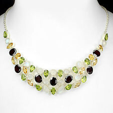 Silver 925 Genuine Natural Moonstone, Garnet, Peridot, Citrine  Necklace 18 Inch