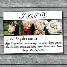 Pk 10 Personalised Renewal / Blessing  Wedding Vows Photo  Invitations  S1