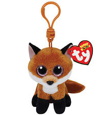 Ty Beanie Boos Slick the Fox Plush Clip Keychain