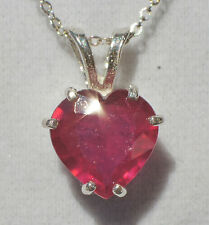 Earth Mined 10mm HEART 3.48ct Red RUBY .925 Sterling Silver Pendant Necklace