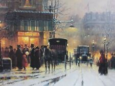 Christmas card horse wagon city scene holiday in the city 1988 Somerset house