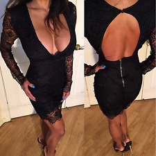 Connie's Long Sleeve Black Lace Cocktail Dress w/ Deep V Plunge Zip Back XL