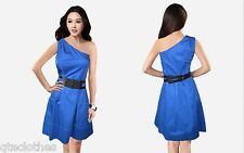 JESSICA SIMPSON $118 NEW Sexy Blue One Shoulder Belted Lined Dress Plus 12W QCO