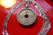LUCKY 7's, CROWNED,  Norwegian Krone ROYAL CROSS Coin Pendant & Silver Chain